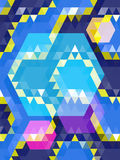Blue and pink hexagon on triangle pattern Royalty Free Stock Photo