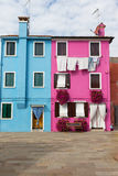 Blue and pink houses in Burano Island Italy Royalty Free Stock Image