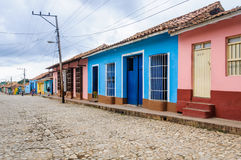 Blue and pink houses in Trinidad, Cuba Stock Photography