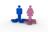 Blue and pink human figures over jigsaw pieces meshed together. On white background Royalty Free Stock Images