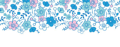 Blue and pink kimono blossoms horizontal seamless Stock Image