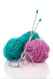 Blue and pink  knitting wool Stock Image
