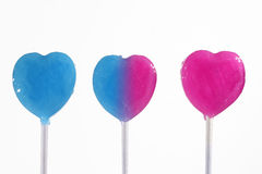 Blue and pink lollipop Royalty Free Stock Images