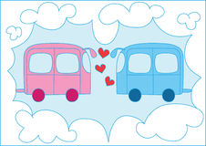 Blue and pink lovely cars. Illustration of blue and pink cars over blue sky background Royalty Free Stock Images
