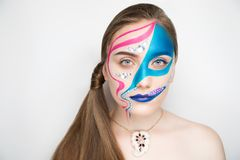 Blue pink make up royalty free stock photo