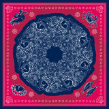 Blue and pink marine bandana square patern design. Stock Photos