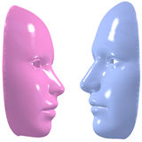 Blue pink mask man woman face off Stock Images