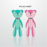 Blue and pink mini bear vector Royalty Free Stock Image