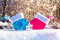 Blue and pink mittens on the snow in an embrace. Christmas toys. Male and female. Blue and pink mittens on the snow in an embrace. Christmas toys. Male and Royalty Free Stock Photos