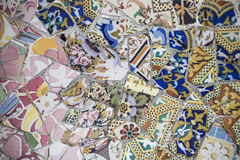 Blue and Pink Mosaic. At Park Guell, Barcelona, Spain Royalty Free Stock Image