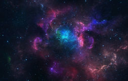 Blue and pink nebula. Beautiful blue and pink nebula with stars royalty free stock photos