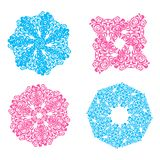Blue and pink openwork snowflakes royalty free illustration