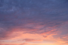 Blue pink orange sky in sunset time Stock Photography