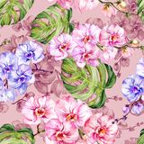 Blue and pink orchid flowers and monstera leaves. Seamless floral pattern. Watercolor painting. Hand drawn illustration. Can be used as for fabric, wallpaper stock illustration