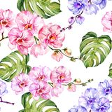 Blue and pink orchid flowers and monstera leaves on white background. Seamless floral pattern. Watercolor painting. Blue and pink orchid flowers and monstera Stock Photo