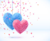 Blue and pink pair of hearts Valentines day Royalty Free Stock Photos
