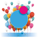 Blue Pink Paper Circles Balloons Banner Royalty Free Stock Photo