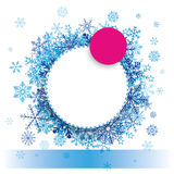 Blue Pink Paper Circles Snowflakes Banner Royalty Free Stock Images