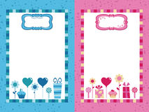Blue and pink party frames Stock Images