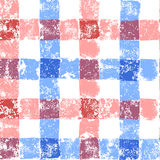 Blue and pink pastel colored checkered grunge gingham seamless pattern, vector Royalty Free Stock Images