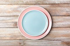 Blue and pink pastel colored plates royalty free stock images