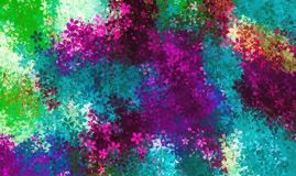 Blue pink red purple and green flowers Stock Images