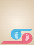 Blue pink ribbon with baby feet greeting card Royalty Free Stock Image