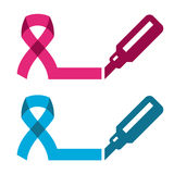 Blue pink ribbon - prostate breast cancer symbol Stock Images
