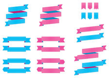 Blue & Pink Ribbons. A set of pink and blue ribbons Stock Photo