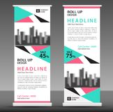 Blue-pink Roll up banner template. pull up layout. Business brochure flyer. poster. stand out. x-banner. rectangular, triangle. exhibition. show. expo vector illustration