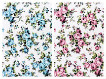 Blue and pink  rose fabric background, Fragment of colorful retr Stock Images