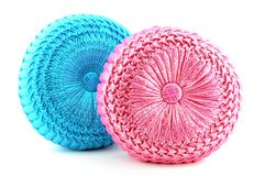 Blue and pink round pillows Stock Images