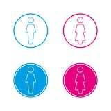 Blue and pink round wc symbols, man and woman icon, restroom. Vector illustration isolated on a white background Royalty Free Stock Images