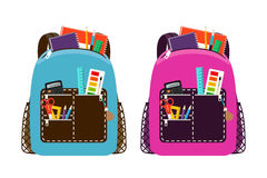 Blue and pink schoolbags Stock Images