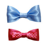 Blue and pink silk ribbon bows. Set of blue and pink silk ribbon bows isolated on white Stock Photography