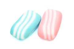 Blue and pink soap. On a white background stock image