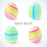 Blue and pink striped easter eggs set Royalty Free Stock Photography