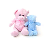 Blue and pink teddy bears Royalty Free Stock Image