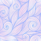 Blue and pink trendy colors hand drawn curly waves seamless pattern Royalty Free Stock Photography