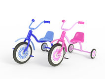Blue and pink tricycle Stock Photo