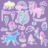 Blue and pink unicorns with  sweets  roses for stickers. Royalty Free Stock Photography