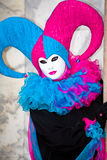 Blue and pink Venetian costume Royalty Free Stock Image