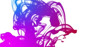 Blue, pink, and violet ink flows dropping onto a white screen and floating downwards. Video of Blue, pink, and violet ink flows dropping onto a white screen and stock footage