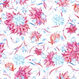 Blue and pink watercolor pattern Stock Images