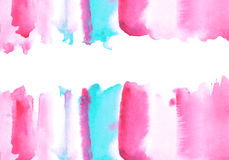 Blue and pink watery illustration. Abstract watercolor hand drawn image.White background Stock Photos