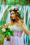 Blue and pink wedding. Bride. Royalty Free Stock Image