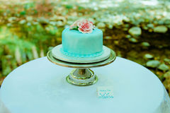 Blue and pink wedding cake. Royalty Free Stock Photos