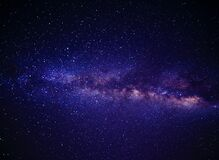 Blue Pink and White Andromeda Galaxy Way Royalty Free Stock Photos