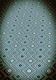 Pattern of squares and curved stripes on a blue background. Blue, pink, white, yellow color graphic ornament on the floor. Blackout effect. Background for Royalty Free Illustration