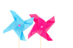 Blue and pink windmills toys Royalty Free Stock Images